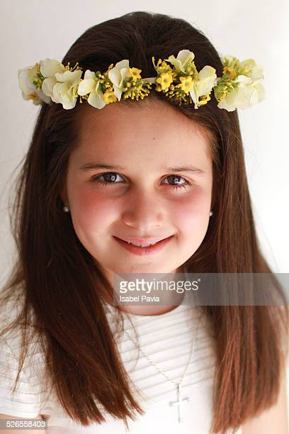 Communion girl with floral tiara