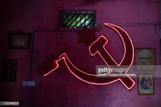 communism in kerala, india - bandiera comunista foto e immagini stock