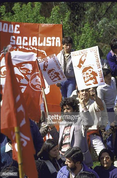 Communist and socialist party members at the memorial organized by the Communist and Socialist parties on the 12th anniversary of death of deposed...