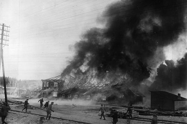 A Communist base burning during the Finnish civil war....