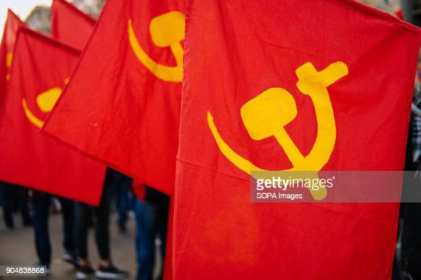 Communist flags at the annual Liebknecht-Luxemburg left-wing demonstration in Berlin. Several thousand people recalled Rosa Luxemburg and Karl...