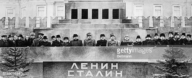 Communist leaders from all over the world stand at the Lenin Mausoleum for the funeral of Joseph Stalin. The group includes Soviet military leader...