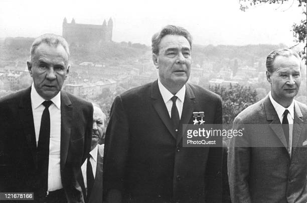 Communist leaders from left Russian Premier Aleksei Kosygin Communist Party General Secretary Leonid Brezhnev and Czechoslovakian leader Alexander...
