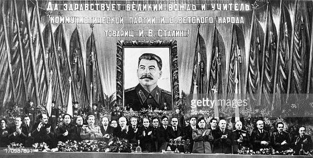 Communist leaders from two continents at the bolshoi theater in moscow at a meeting in honor of josef stalin's 70th birthday on december 21