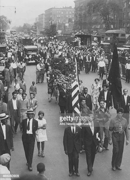Communist party members on a parade 1935