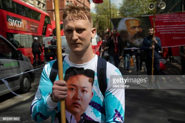 Communist Party of Great Britain during May Day celebrations in London, England, United Kingdom. Demonstration by unions and other organisations of...