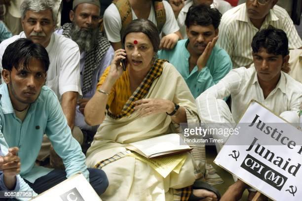 Communist Party of India CPI Politburo member Brinda Karat talking with Pehlu Khan Son Mubarak Khan and friends of Junaid Khan during the CPI...