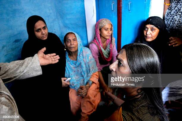 Communist Party of India leader Brinda Karat meets family of Mohammad Akhlaq at Bisada village in Greater Noida India on Thursday October 01 2015...
