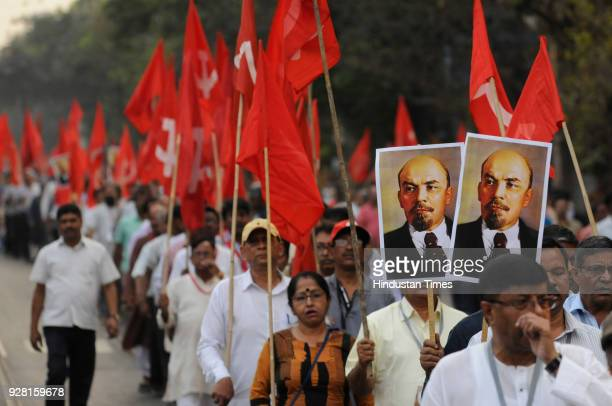 Communist Party of India leaders Prakash Karat Suryakant Mishra Sitaram Yechury Biman Bose and more than thousand supporters took out a protest rally...