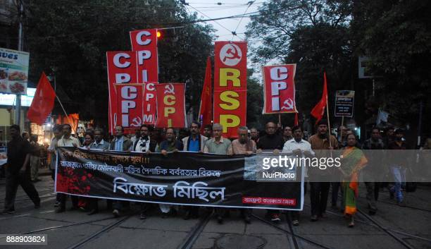 Communist Party of India protests against the killing of a Muslim Labour Afrazul Khan from Malda West Bengal at Rajnagar Rajasthan in Kolkata India...