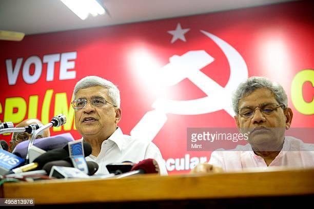Communist Party of IndiaMarxist or CPM general secretary Prakash Karat and party leader Sitaram Yechury after released manifesto for the 2014 Lok...