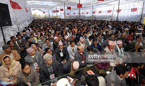 Communist Party of Nepal cadres attend The National Convention in Bhaktapur on the outskirts of Kathmandu on November 21 2008 Nepal's ruling Maoists...