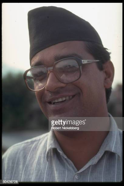 Communist Party of Nepal General Secretary Madan Bhandari smiling at CPM UML parliamentary seat gains in first free elections in 30 years
