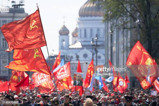 Communist Party supporters march through Moscow on May Day on May 1 2019 in Moscow Russia Thousands of Russian Communist Party supporters marched in...