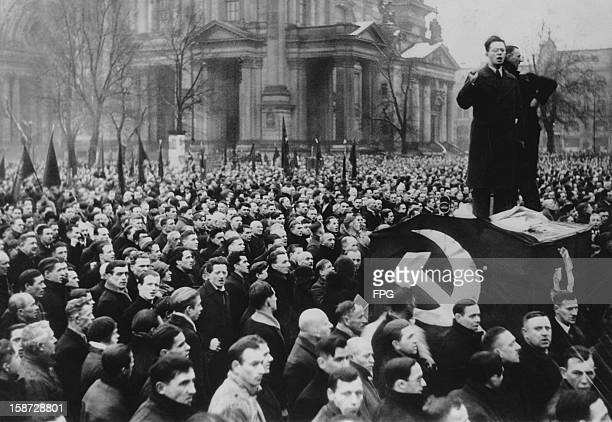A Communist rally in the Lustgarten Berlin Germany to win support for KPD candidate Ernst Thälmann during the presidential election circa 1925