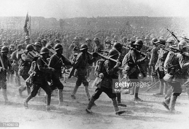 Communist troops of the Chinese Red Army on the march during the assault on Shanghai at the end of the Chinese Civil War 21st May 1949