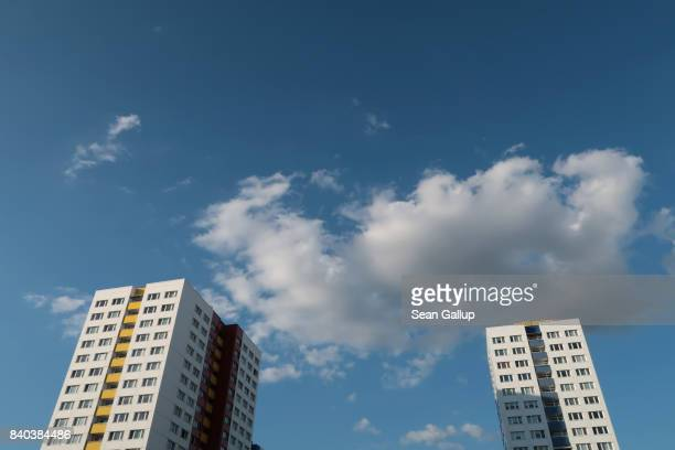 Communistera apartment buildings stand in the city center on August 28 2017 in Berlin Germany Many German cities are strugging to provide affordable...