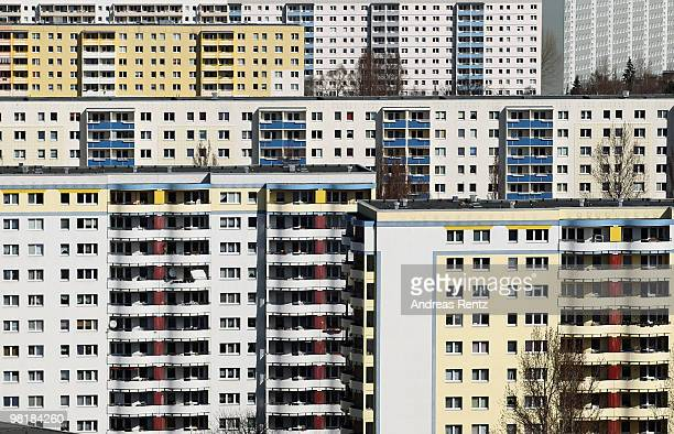 Communistera highrise apartment buildings also known as 'Plattenbau' in the Marzahn district are pictured on April 01 2010 in Berlin Germany Marzahn...