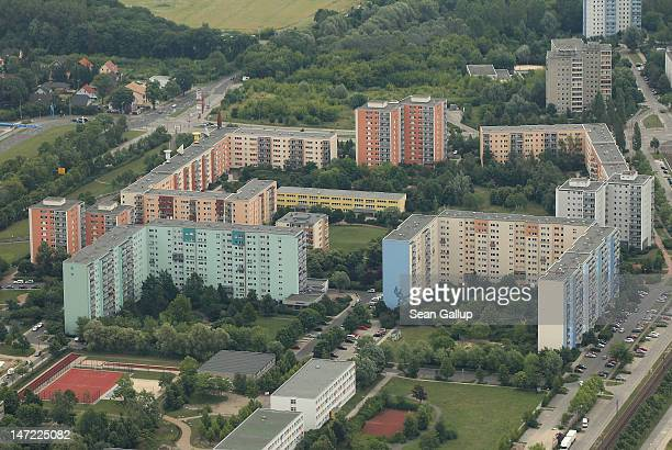 Communistera prefab apartment buildings stand in Marzahn district on the eastern outskirts on June 27 2012 in Berlin Germany Berlin is a major...