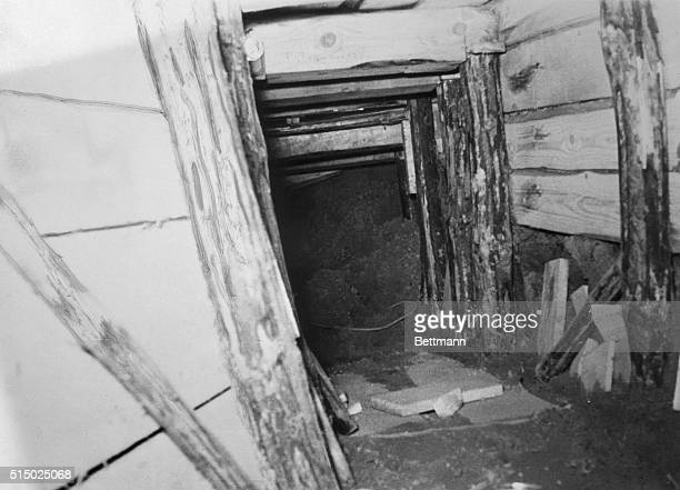 """Communists Discover """"Secret Tunnel."""" Berlin: this picture issued by East Berlin Communist authorities shows part of an alleged secret tunnel,..."""