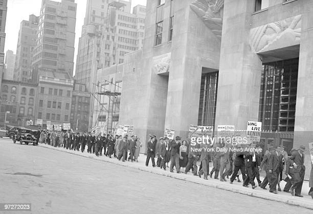 Communists parading around Rockefeller Center in protest against the dismissal of Diego Rivera