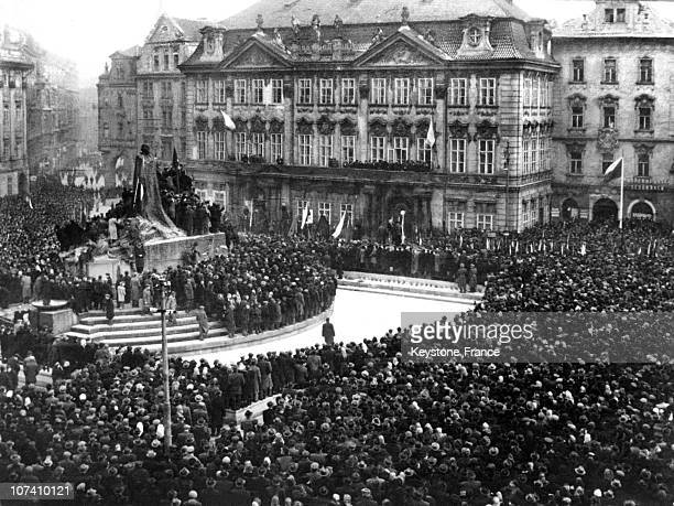 Communists Taking Power In Czechoslovakia Prague Mass Meeting In The Old Town Square On 19480221