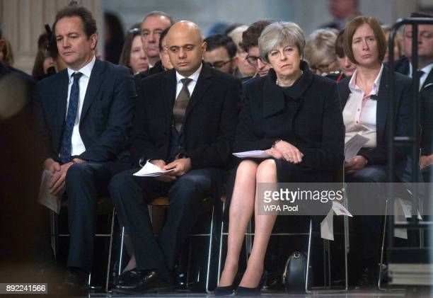 Communities and Local Government Secretary Sajid Javid and Prime Minister Theresa May attend the Grenfell Tower National Memorial Service at St...