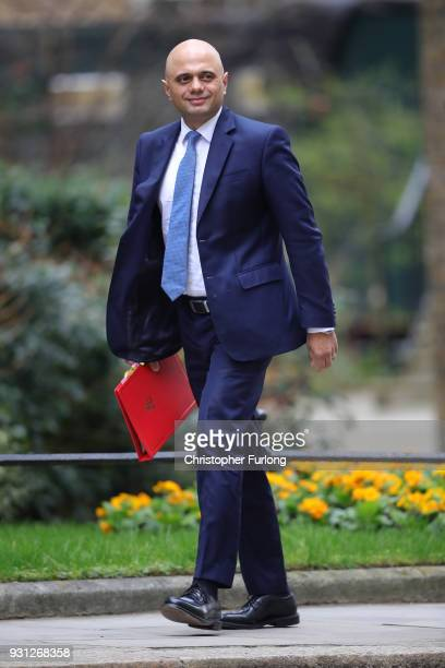 Communities and Local Government Secretary Sajid Javid arrives for the weekly cabinet meeting at 10 Downing Street on March 13 2018 in London England