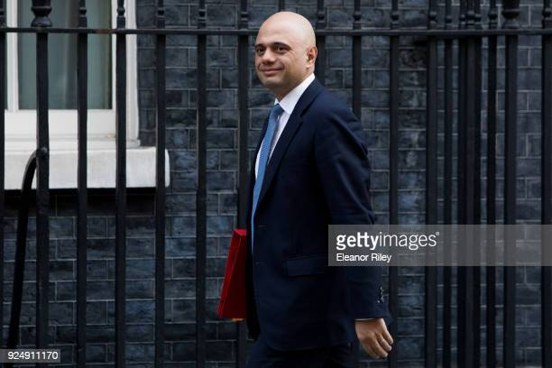 Communities and Local Government Secretary Sajid Javid arrives on Downing Street for the weekly cabinet meeting on February 27 2018 in London England