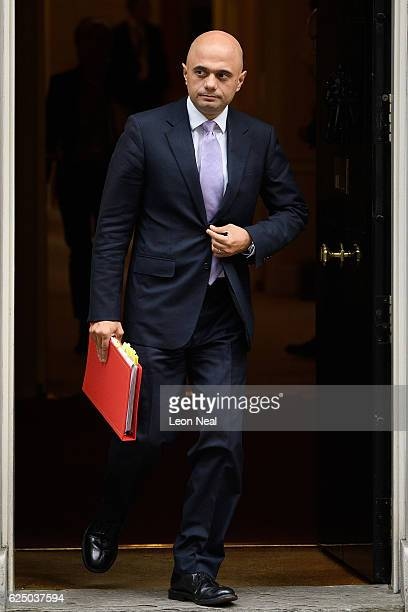 Communities and Local Government Secretary Sajid Javid leaves following a Social Reform meeting at 10 Downing Street on November 22 2016 in London...