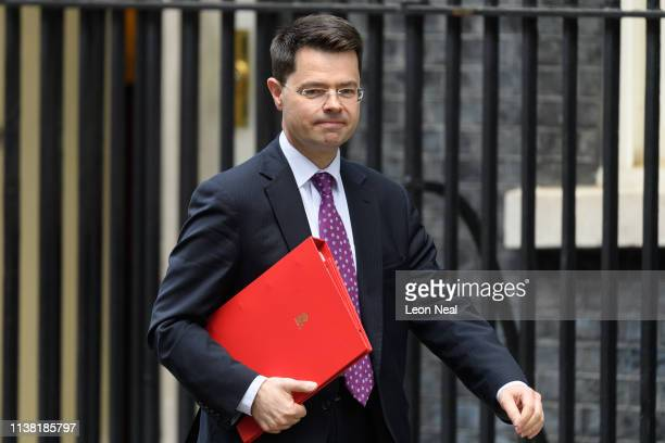 Communities Secretary James Brokenshire leaves Downing Street following a cabinet meeting on March 25 2019 in London England British Prime Minister...