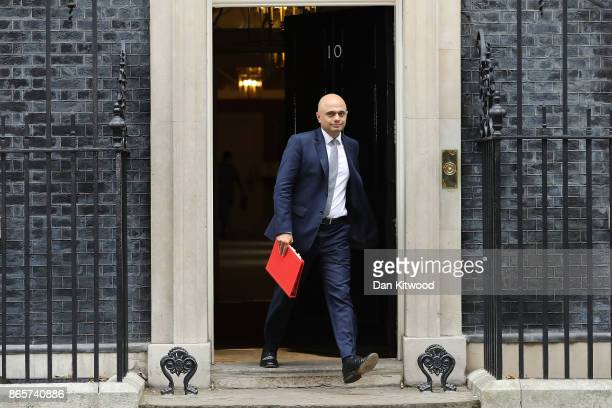 Communities Secretary Sajid Javid leaves 10 Downing Street following a cabinet meeting on October 24 2017 in London England