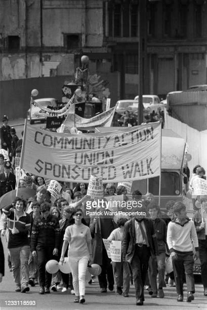 Community Action rally in West London, circa July 1969. From a series of images to illustrate the many frustrations of living in Britain during the...