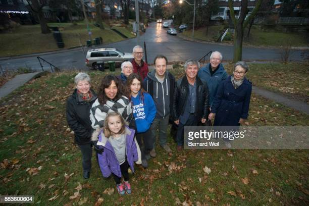 TORONTO ON NOVEMBER 30 Community activist Dave Meslin is surrounded by friends and supporters at the intersection at Regal Rd and Springmount Ave...