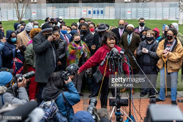 Community activist Toshira Garraway speaks during a press conference with Daunte Wright's and George Floyd's families, at the Hennepin County...