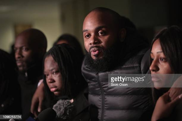 Community activist Will Calloway speaks to the press following the sentencing hearing for former Chicago police officer Jason Van Dyke at the...