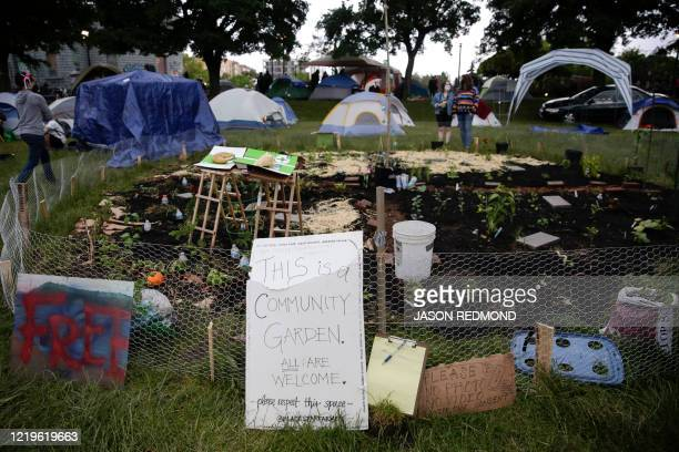 A community garden is seen among tents in Cal Anderson Park in an area being called the Capitol Hill Autonomous Zone located on streets reopened to...