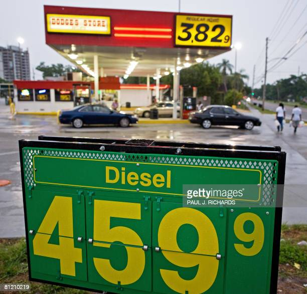 A community gas station in Clearwater Florida advertises its prices for diesel and gasoline on May 22 2008 The price of a gallon of gas remains much...