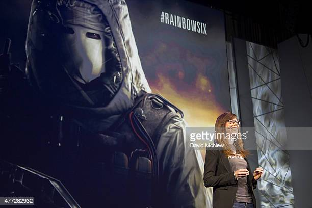 Community Manager Genevieve Forget presents for Tom Clancy's Rainbow Six Siege at the Ubisoft E3 1015 Conference on June 15 2015 in Los Angeles...