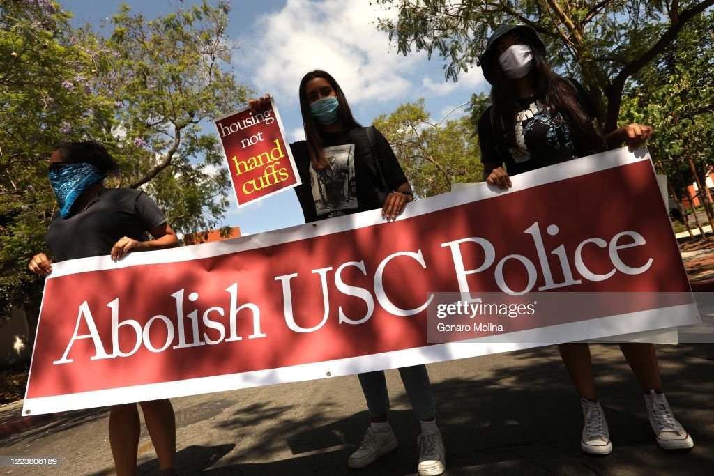 Demand for USC to Abolish Police Force - during the Coronavirus pandemic : News Photo