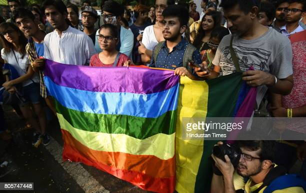 LGBT community members during the protest against Article 377 at Jantar Mantar on July 2 2017 in New Delhi India Activists put forth demands...