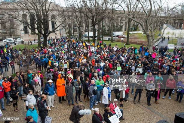 Community members from Harvard University and MIT rally before marching to the Boston Common for the Science March on April 22 2017 in Cambridge...