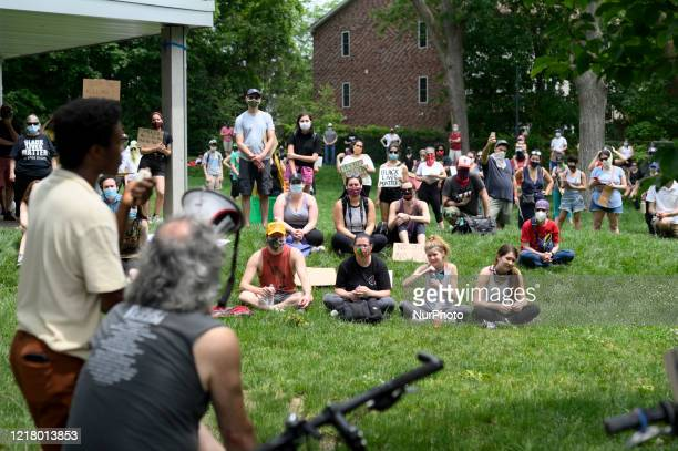 Community members gather for a familyfriendly and peaceful protest in the diverse and liberal Mount Airy neighborhood of Northwest Philadelphia PA on...
