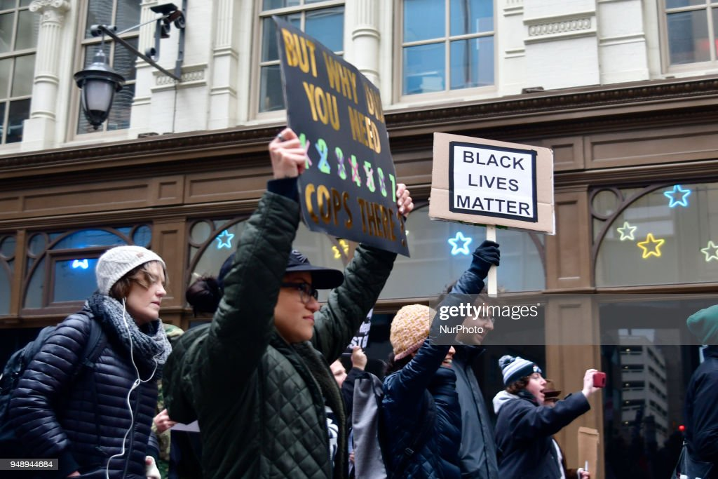 Police Accountabilty Protest in reaction to Starbucks Arrest in Philadelphia : News Photo