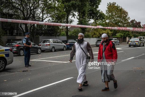 Community members leave after visiting Al Noor Mosque on March 18 2019 in Christchurch New Zealand 50 people were killed and dozens are still injured...