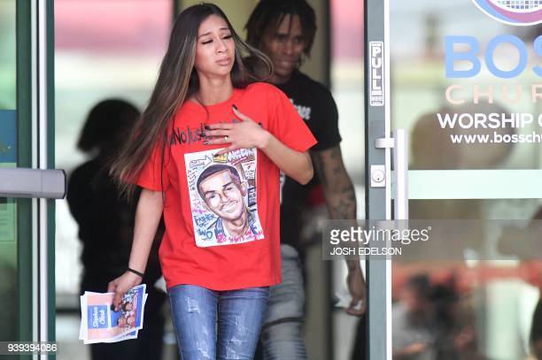 Community members pay their respects during a wake for Stephon Clark at Bayside of South Sacramento in Sacramento California on March 28 2018 Clark...
