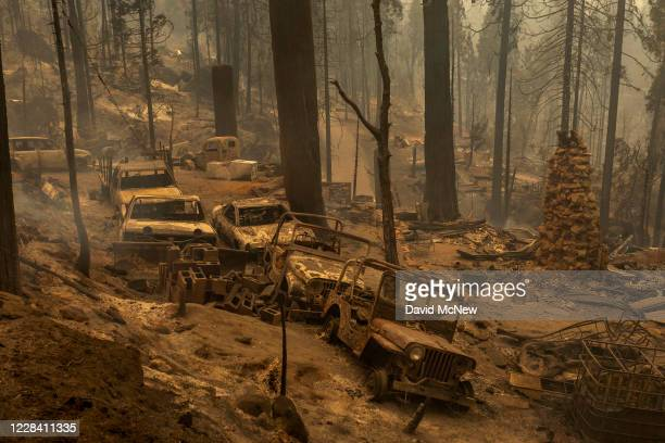 Community of forest homes lies in ruins along Auberry Road in the Meadow Lakes area after the Creek Fire swept through on September 8, 2020 near...
