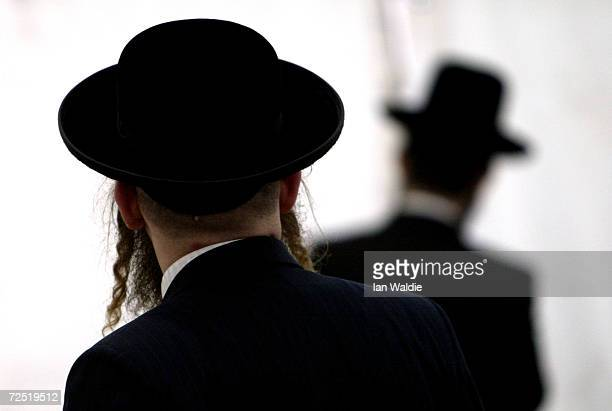 A community of Hasidic Jews prepare for a gathering on their holy day of Shabbas February 20 2004 in London The gathering in Golders Green which will...