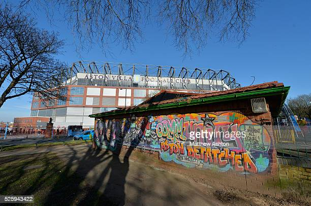 A community project building complete with some graffiti in the shadows of Villa Park the home stadium of Aston Villa