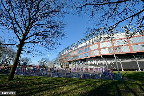 A community project where local children play football in the shadows of Villa Park the home stadium of Aston Villa